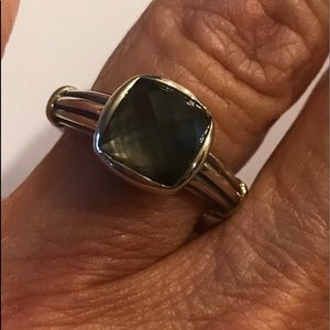 Authentic Lagos SS  Black Mother of Pearl Ring
